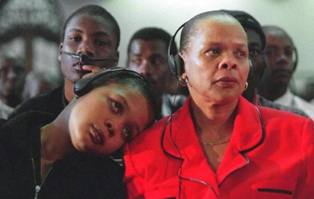 Limpho Hani, right, and her daughter Nomakhwezi, who witnessed her father's murder, at the Truth and Reconciliation Commission. Photograph: Walter Dhladhla/AFP/Getty Images