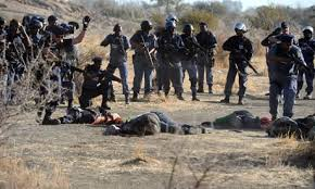 Police-units had opened fire on mine-workers on strike that were demanding a fair wage. 34 were killed.